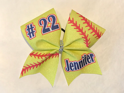 Softball cheer bow