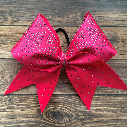 Pink satin cheer bow with light amethyst rhinestones