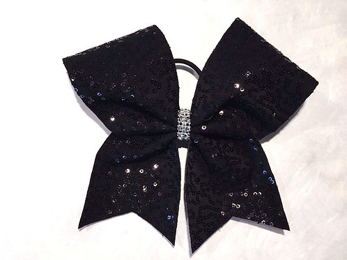 Black Sequins Cheer Bow