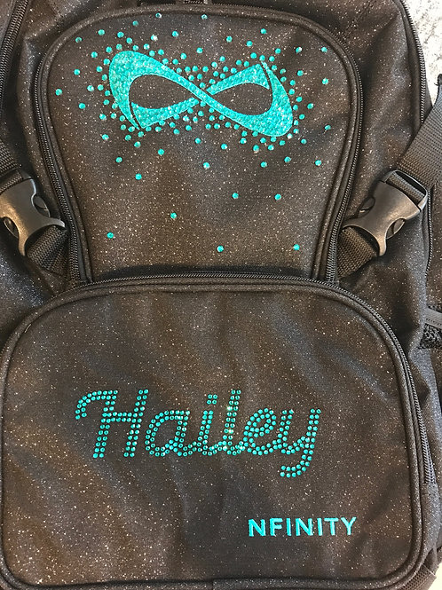 Customized Black Glitter Nfinity Backpack  6-7 Letters