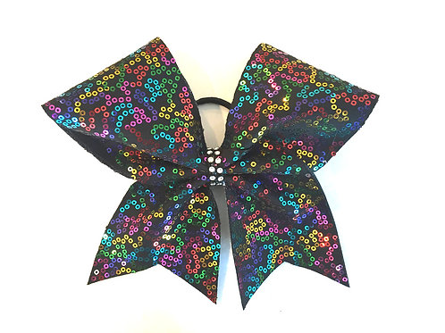 Rainbow Sequin Cheer Bow