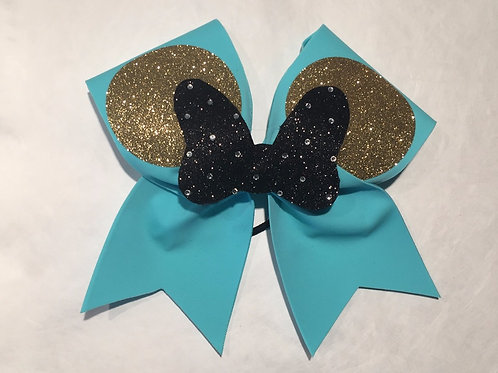 Teal Minnie Mouse Bow