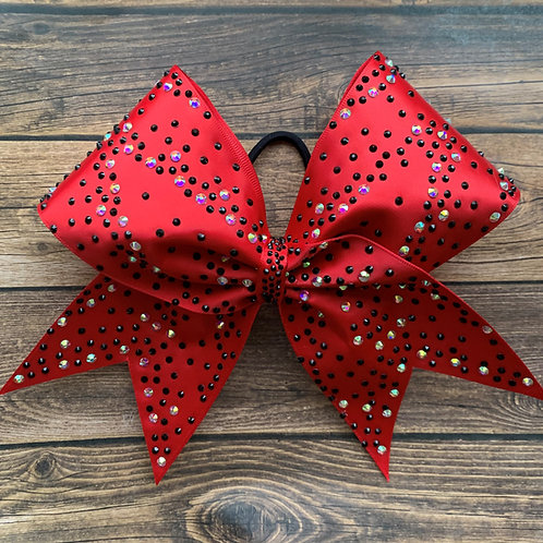 Red Satin Cheer Bow with Black and AB Stones