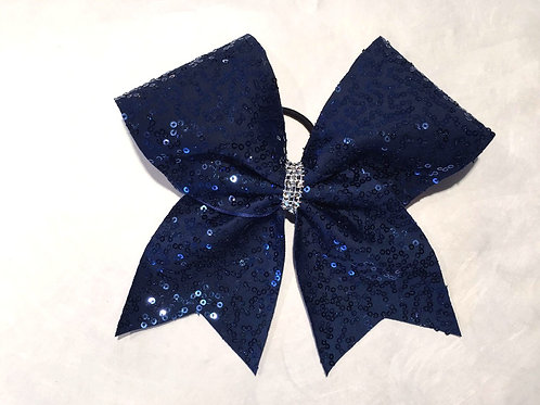 Navy Sequins Cheer Bow
