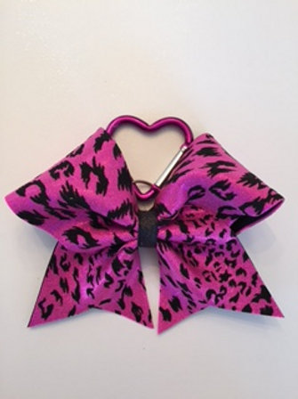 Pink cheetah keychain bow