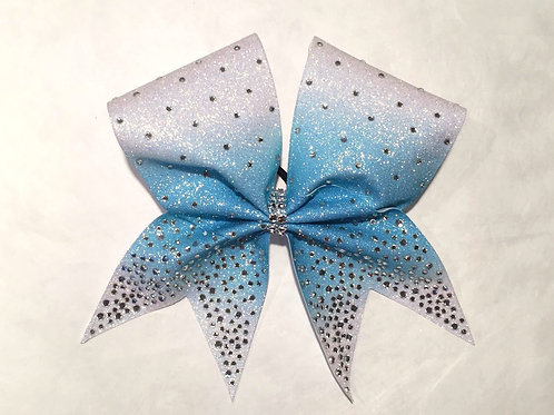 Ice Blue Glitter Ombre Bow with Rhinestones