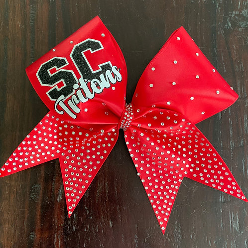 Red satin cheer bow with glitter text