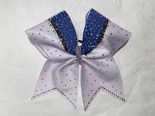 Blue White Rhinestone Bow