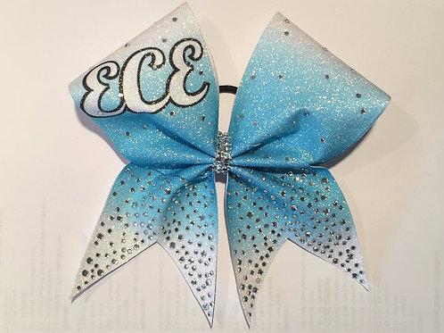 Custom Ice Blue Glitter Ombre Bow with Rhinestones