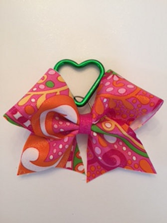 Pink pattern keychain bow