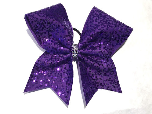 Purple Sequins Cheer bow