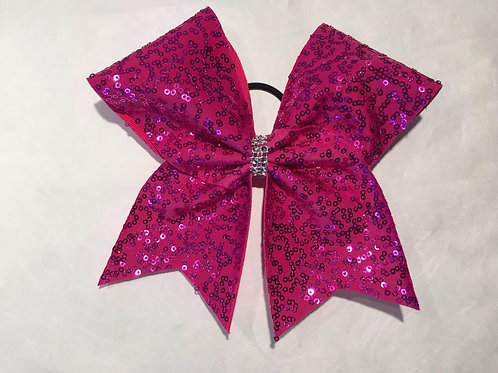 Pink Sequins Cheer Bow