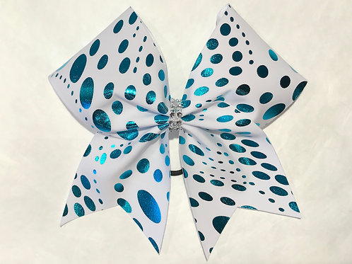 White with teal foil polka dots