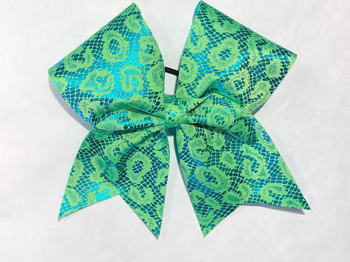 Green animal print cheer bow