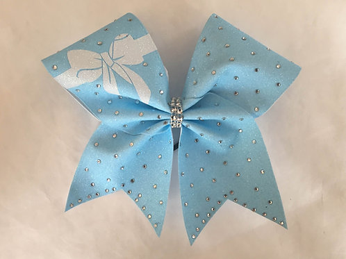 Neon Blue Glitter Vinyl Cheer Bow