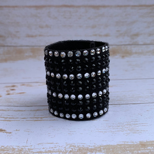 "1 1/2"" black and crystal rhinestone ponytail cuff"