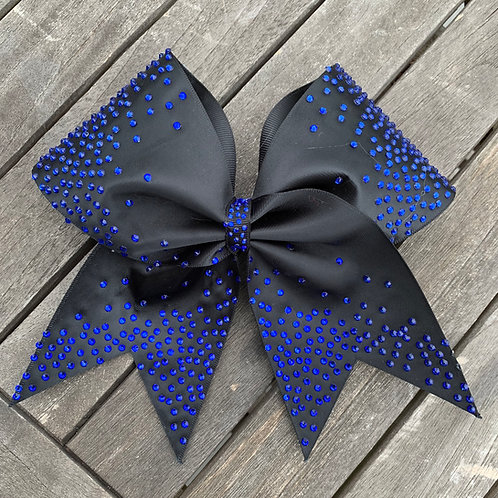 Black Satin Cheer Bow with Blue Rhinestones
