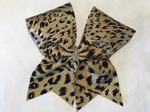 Gold Cheetah Cheer Bow