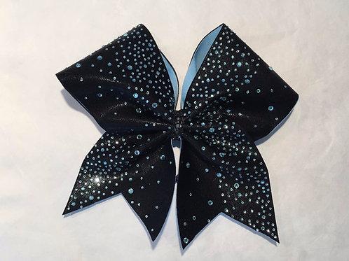 Black Bow with Light Blue Rhinestones