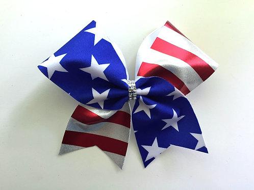USA Flag Cheer Bow