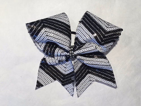 Black White Sequins Chevron Cheer Bow