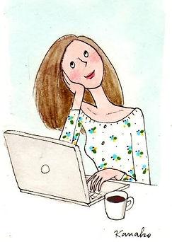 consumidor conectado desenho de mulher no computador