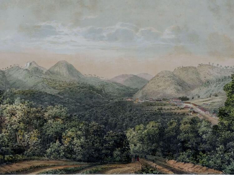 Nova Friburgo, em meados do século XIX, pintado por Hermann Burmeister, um botânico alemão.