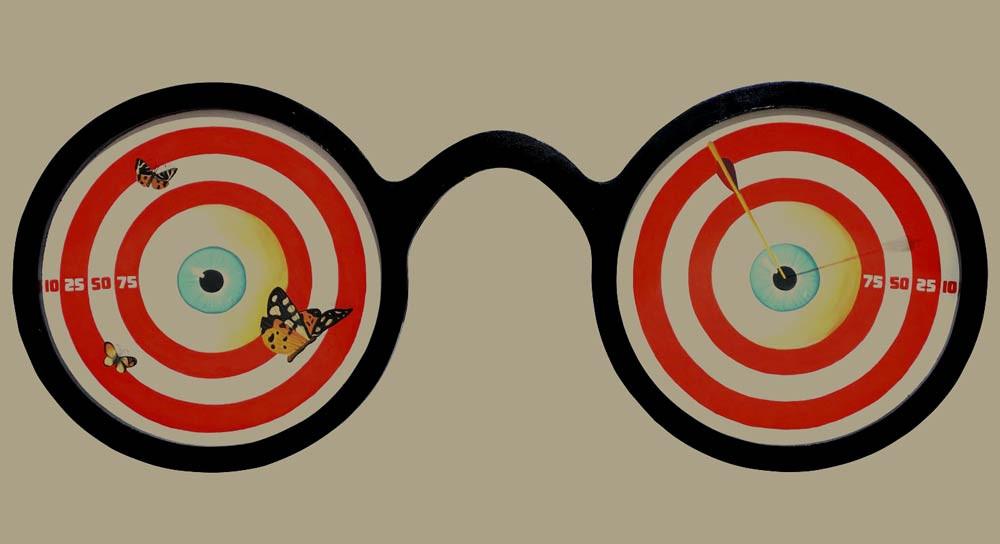 óculos, pintura, arte, olhar, observador