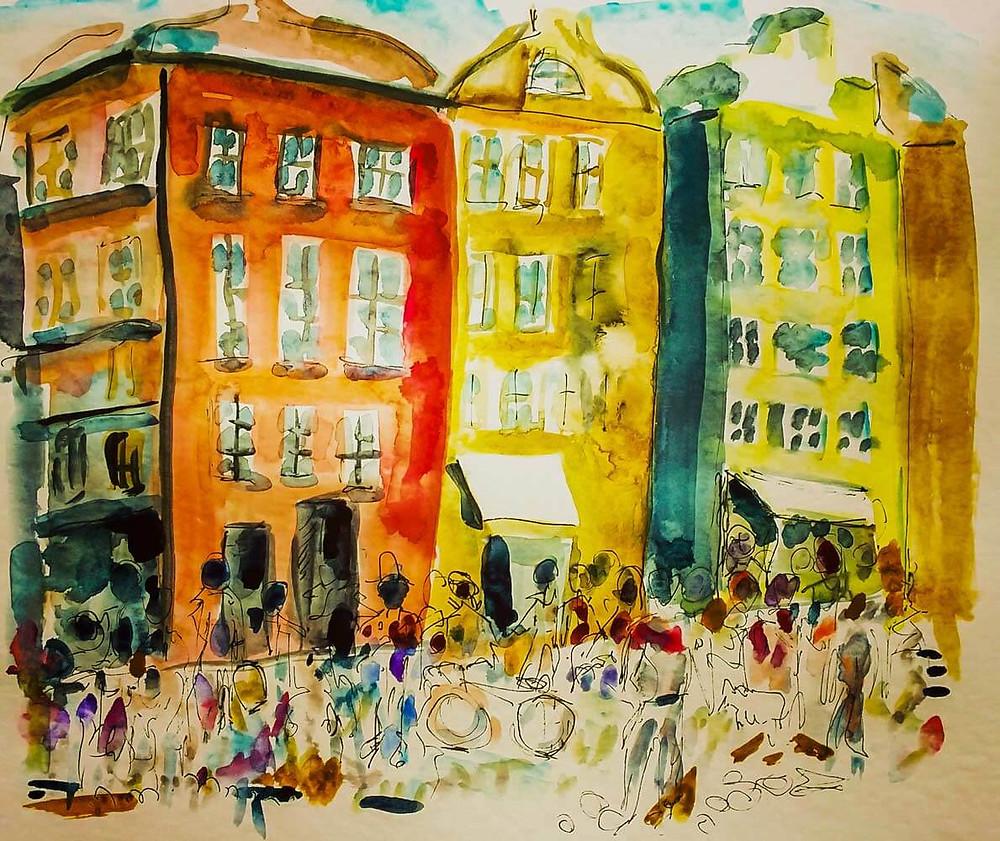 pintura multidão de pessoas