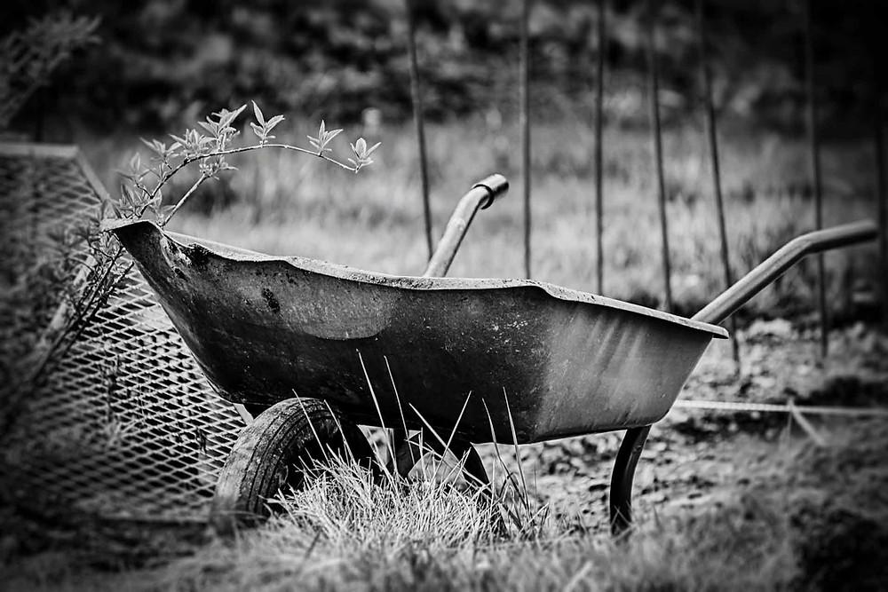 carrinho de mão preto e branco