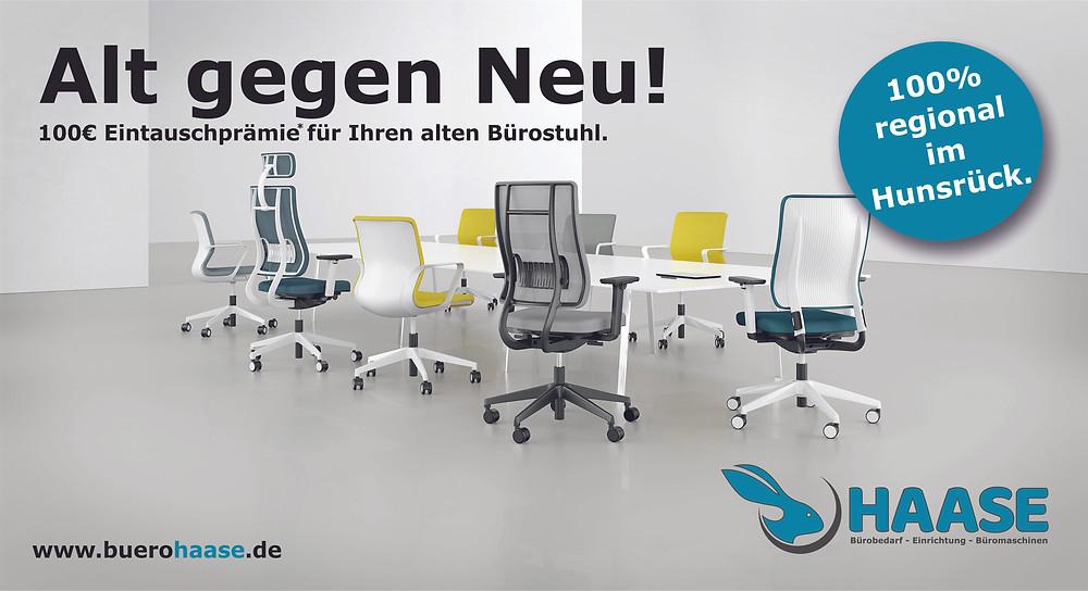 Aktion Eintauschprämie für Bürostuhl. Bei Büro Haase - Die Büroprofis in Rheinböllen. Die Experten für Ergonomie am Arbeitsplatz und Bürodrehstühle im Hunsrück und Mittelrhein.