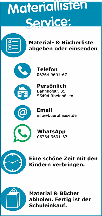 Materiallistenservice Schulbedarf Hunsrück Haase Rheinböllen