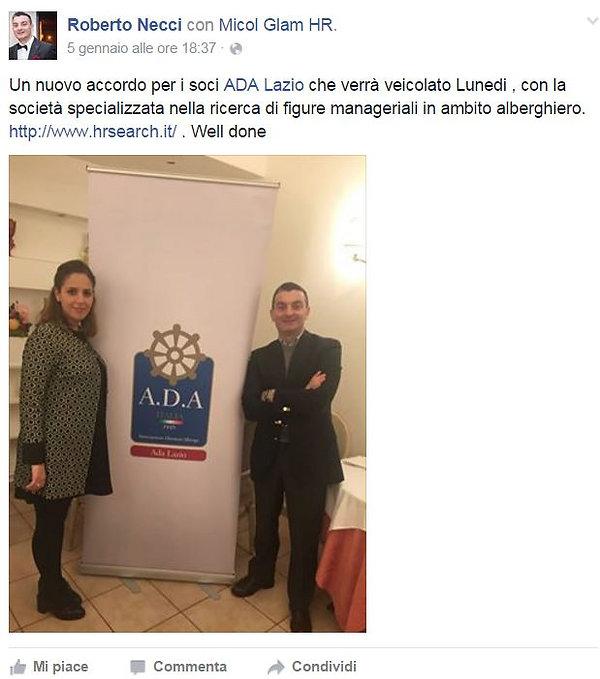 Sig. Roberto Necci di ADA Lazio con Sig.ra Micol Glam di HR Search