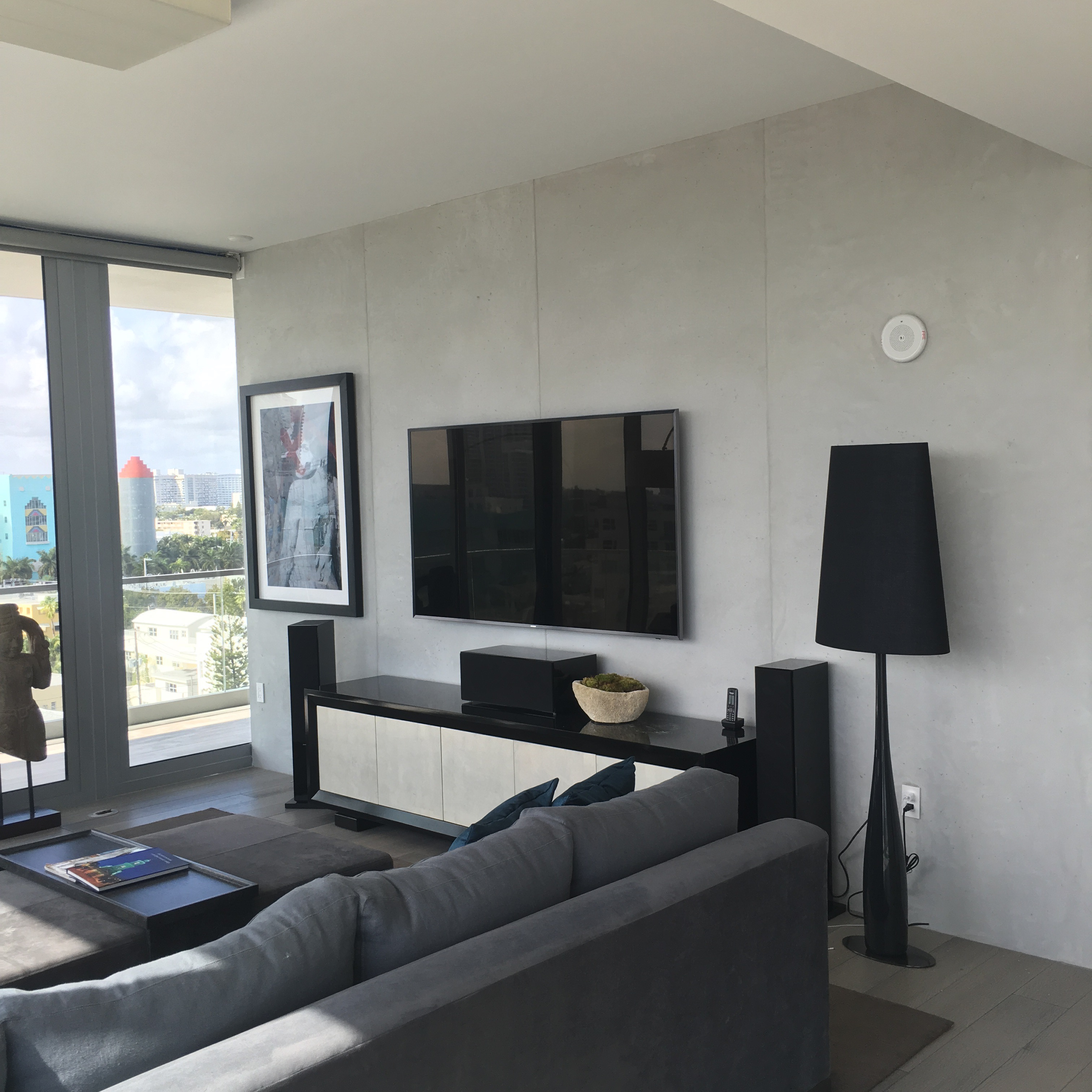 """TV wall in """"Poured Concrete"""""""