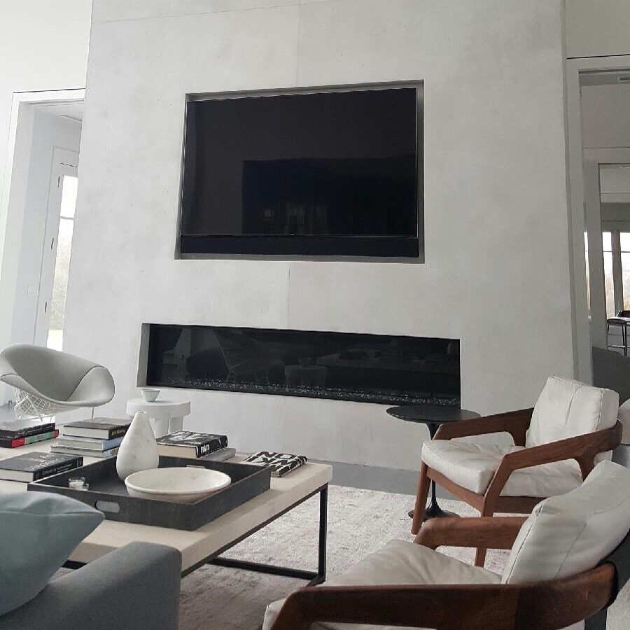 """Fireplace in faux """"Poured Concrete"""""""