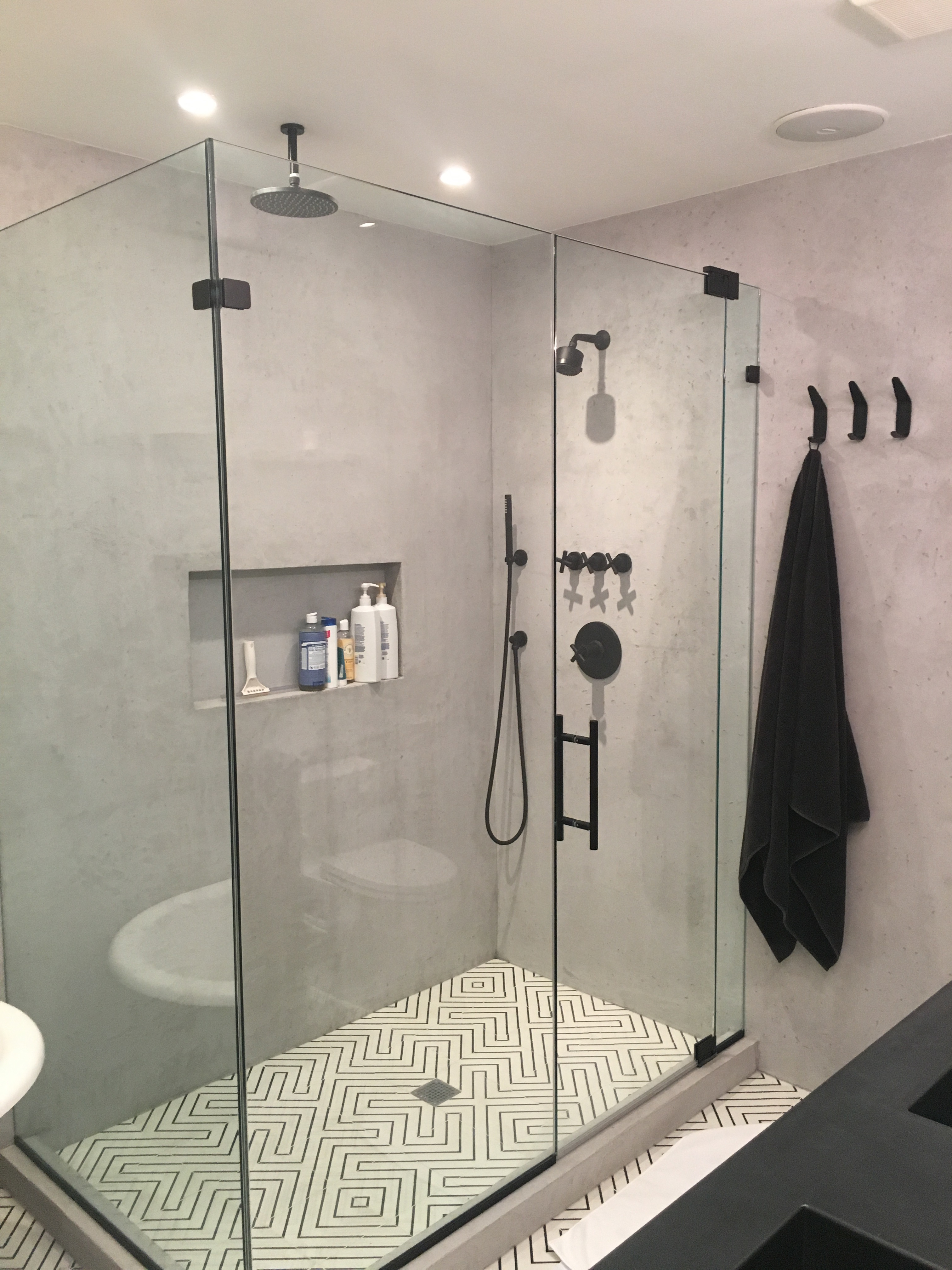 """Shower in faux """"Poured Concrete"""""""