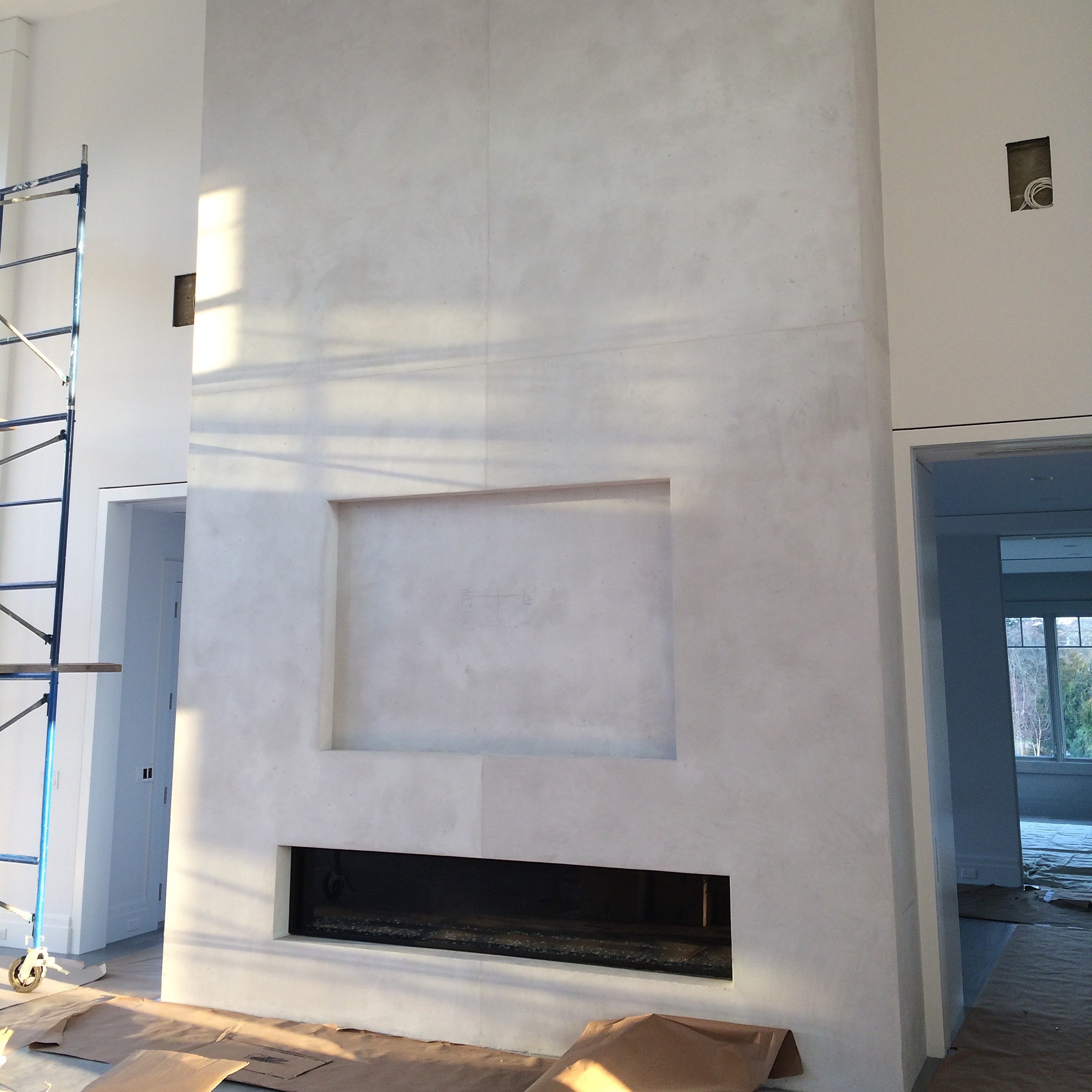 Designer concrete fireplace