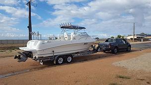 Trailerable fibreglass fishing boat, theodore 720 range