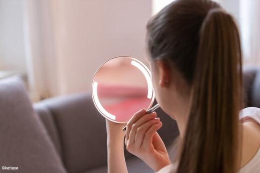 Beleuchteter Kosmetikspiegel, Vergrößerungsfaktor 5x (3x, 7x auf Anfrage)