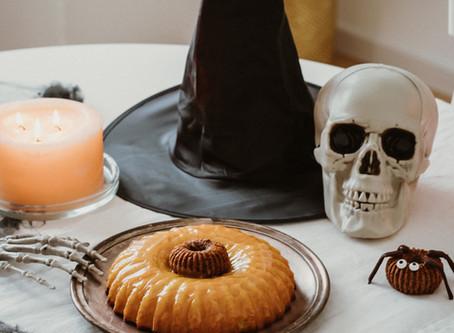 Bolo Abóbora e Aranhas de Chocolate para o Halloween