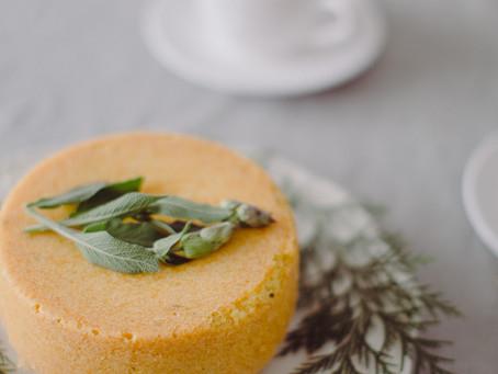 Lemon & sage cake with sage syrup