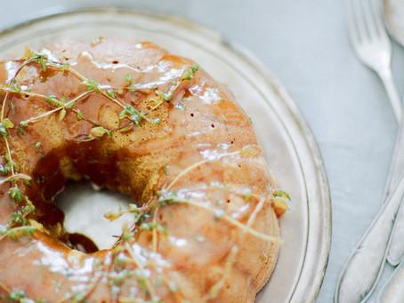 Honey Safron Cake with Lemon Thyme Beurre Noisette - Salt & Wonder