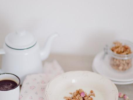 Rose Petal Granola with chocolate & almonds