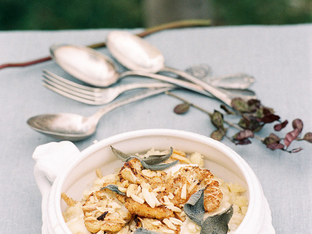 Roasted cauliflower risotto with sage & brie