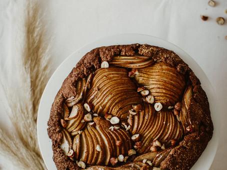 Crostata de Chocolate com Pêras e Avelãs