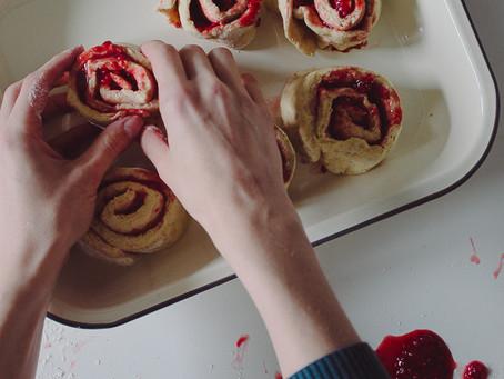 Raspberry & strawberry rolls