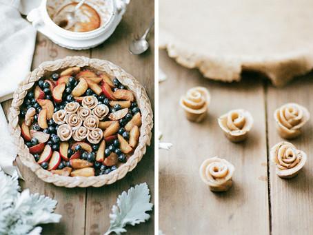 Blueberry Plum Tart with Spelt Chia Crust