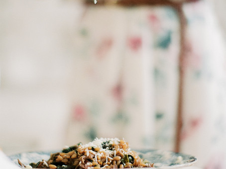 Spelt risotto with mushrooms & kale