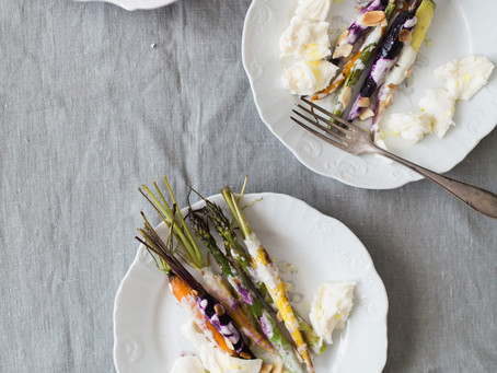 Roasted Baby Carrots & Asparagus with Blue Cheese Sauce