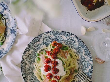 Pesto linguine with roasted tomatoes, ricotta & peas